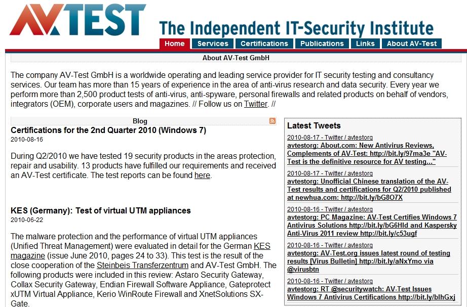 德國團體發表 Win 7 防毒軟件測試報告