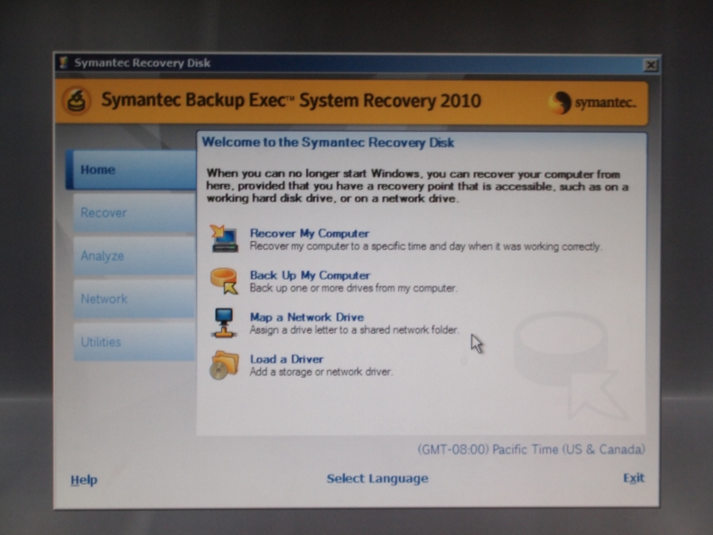 Symantec Backup Exec System Recovery 還原