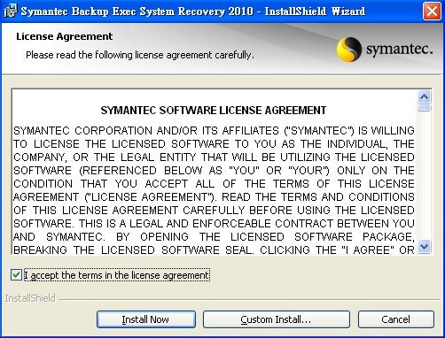 symantec backup exec system recovery
