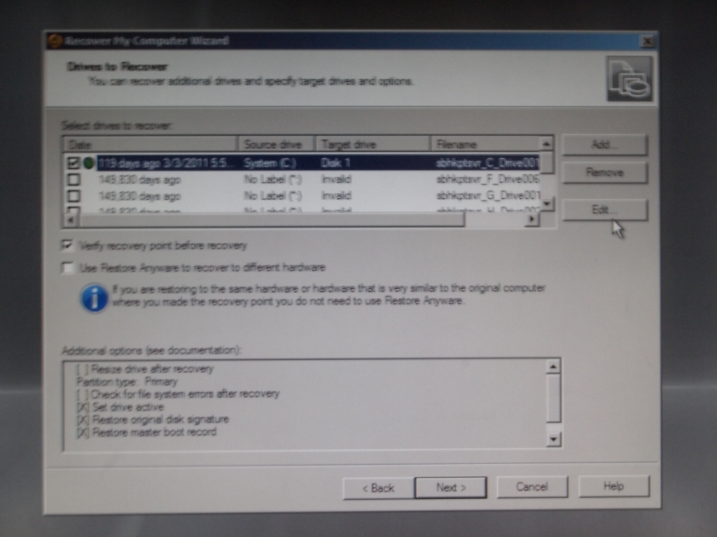Symantec Backup Exec System Recovery Disk 還原