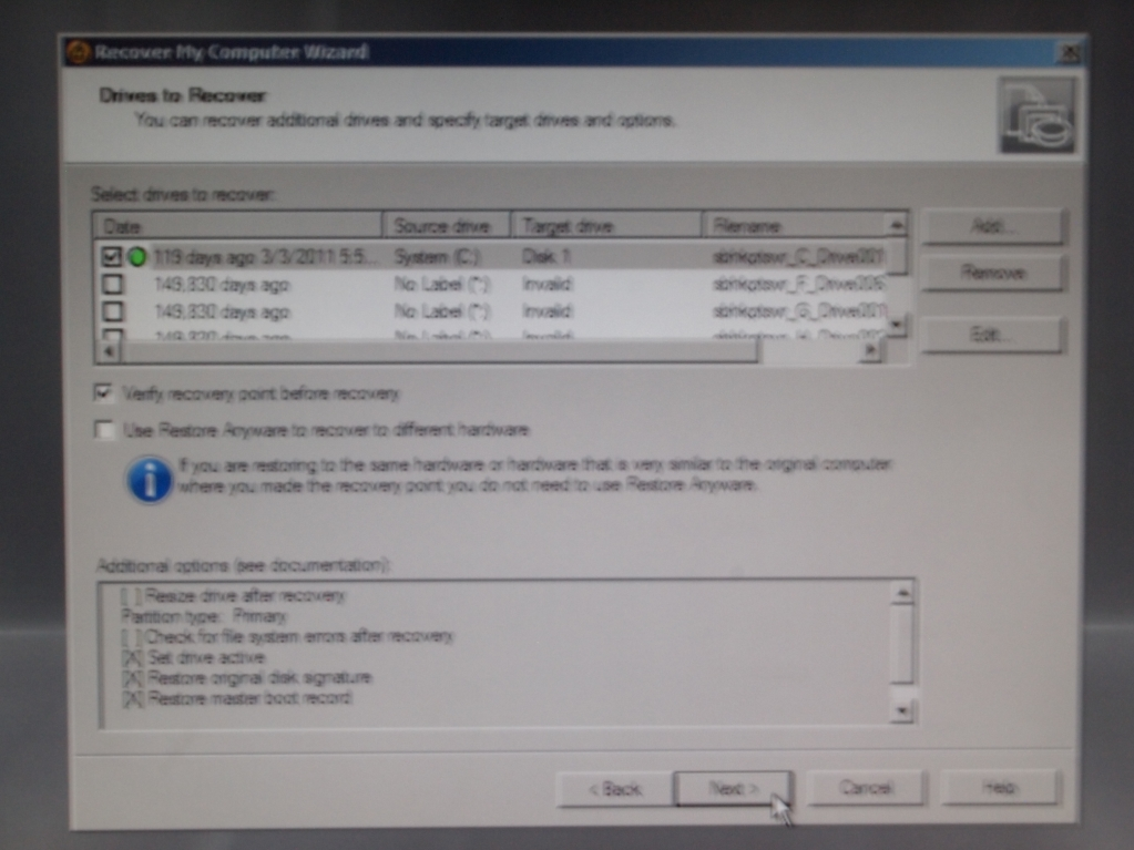 Symantec Backup Exec System Recovery Disk Restore