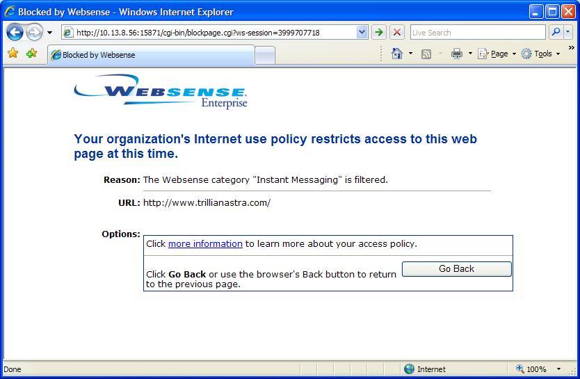 Facebook Websense