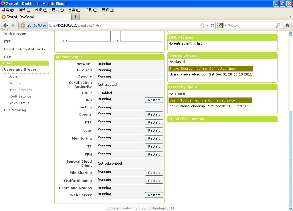 Zentyal File Sharing Service Setup