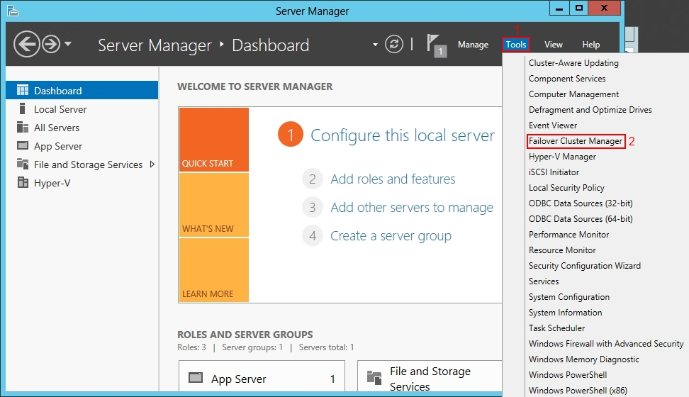 Install Windows 2012 Failover Cluster Manager
