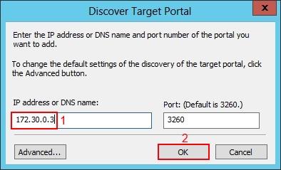 Setup Windows 2012 iSCSI Initiator