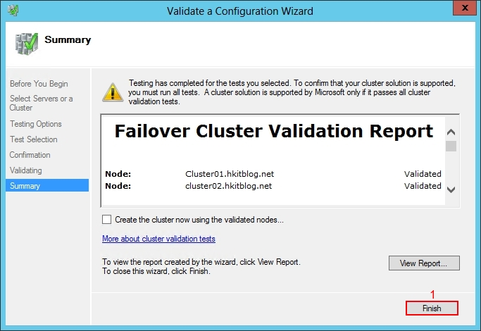 Validate Windows 2012 Failover Cluster Manager