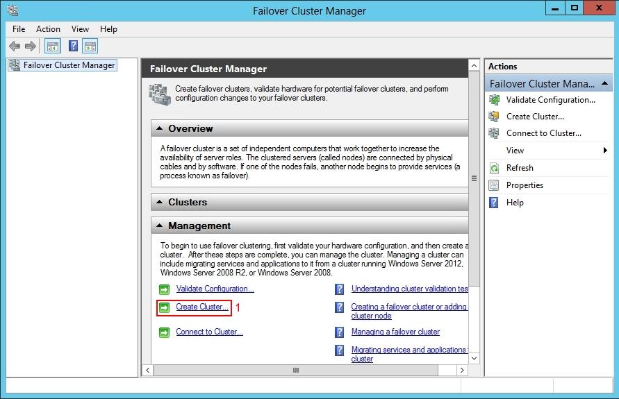 Setup Windows 2012 Failover Cluster Manager