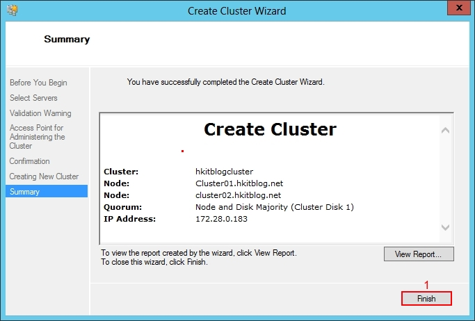 Setup Windows 2012 Failover Cluster Manager
