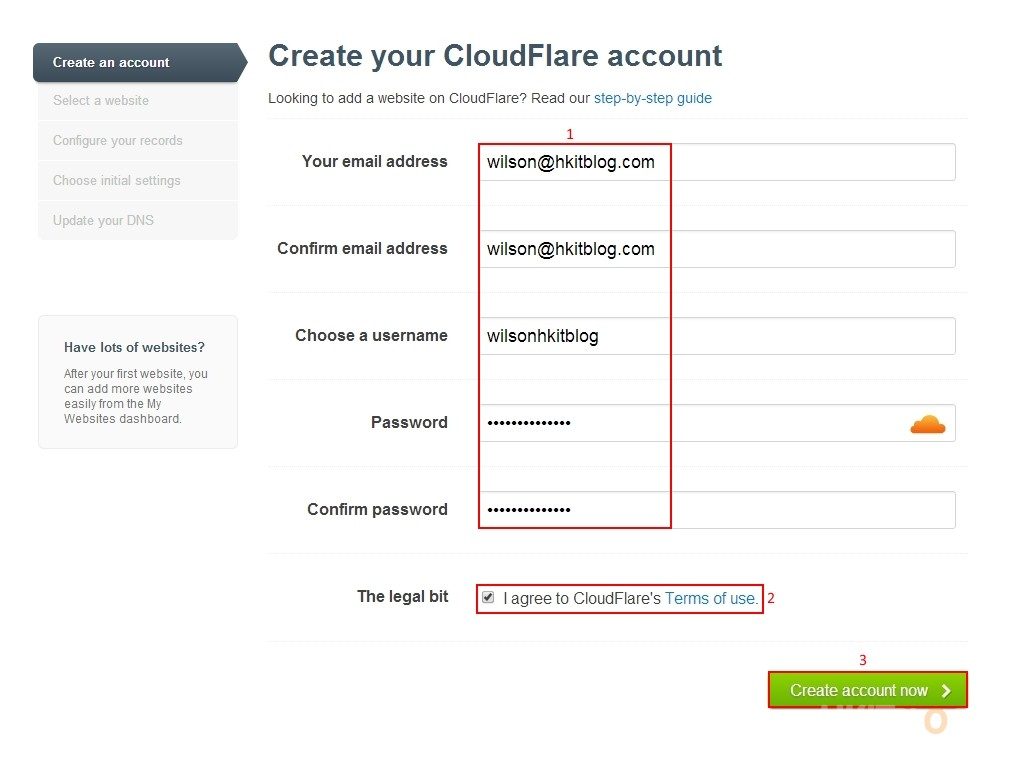 CloudFlare Registration