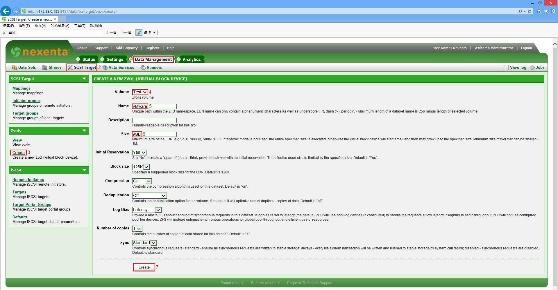 Nexenta Create iSCSI Target