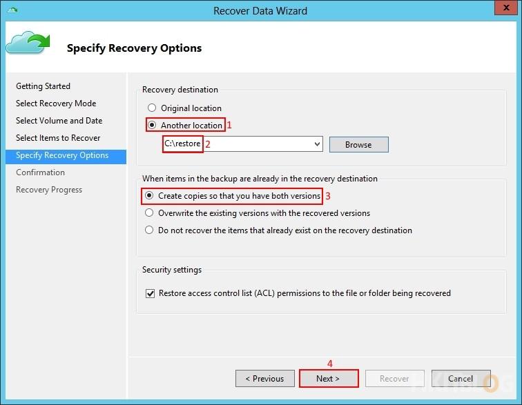 Microsoft Azure Recovery Service - Restore
